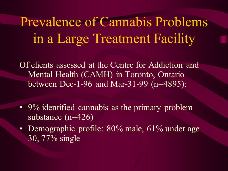 Prevalence of Cannabis Problems in a Large Treatment Facility Of clients assessed at the Centre for Addiction and Mental Health (CAMH) in Toronto, Ontario between Dec-1-96 and Mar-31-99 (n=4895): 9% identified cannabis as the primary problem substance (n=426) Demographic profile: 80% male, 61% under age 30, 77% single