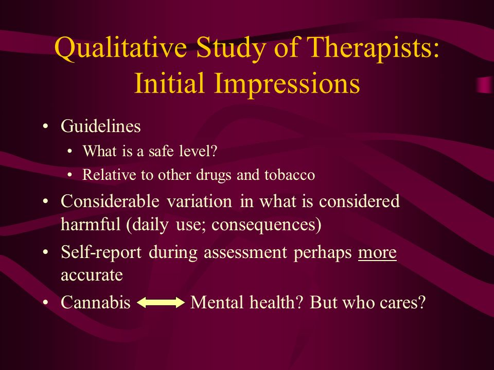 Qualitative Study of Therapists: Initial Impressions Guidelines What is a safe level.