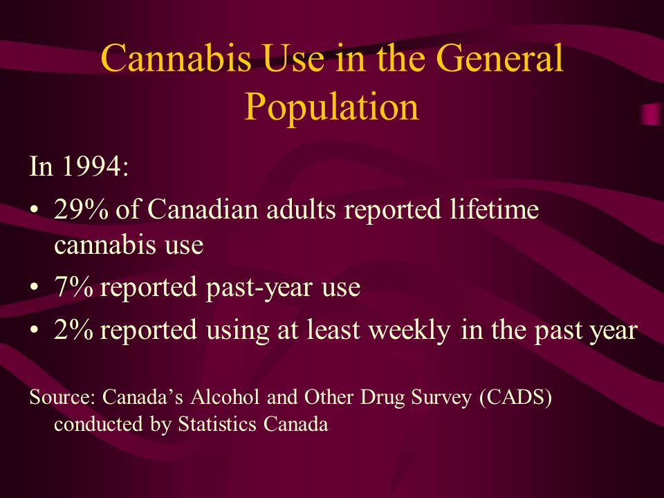 Cannabis Use in the General Population In 1994: 29% of Canadian adults reported lifetime cannabis use 7% reported past-year use 2% reported using at least weekly in the past year Source: Canadas Alcohol and Other Drug Survey (CADS) conducted by Statistics Canada