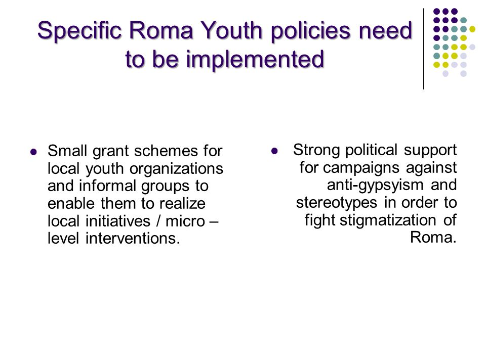 Specific Roma Youth policies need to be implemented Small grant schemes for local youth organizations and informal groups to enable them to realize lo