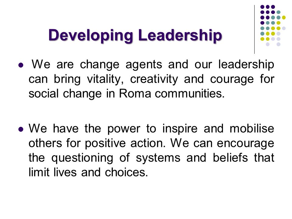 Developing Leadership We are change agents and our leadership can bring vitality, creativity and courage for social change in Roma communities. We hav