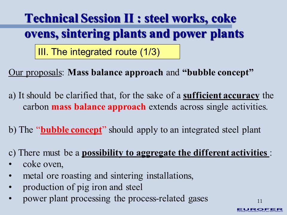 11 Technical Session II : steel works, coke ovens, sintering plants and power plants III. The integrated route (1/3) Our proposals: Mass balance appro