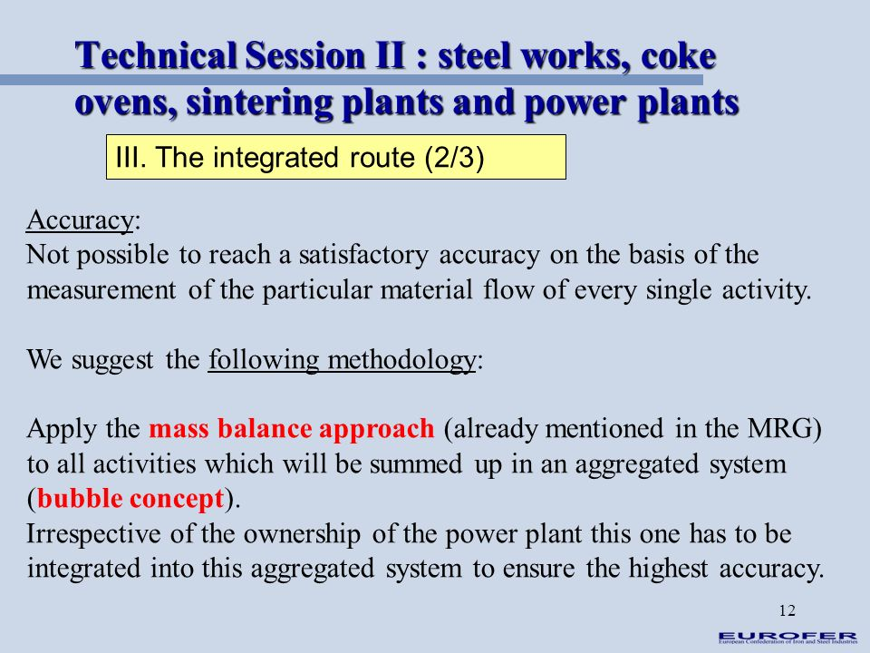 12 Technical Session II : steel works, coke ovens, sintering plants and power plants III. The integrated route (2/3) Accuracy: Not possible to reach a