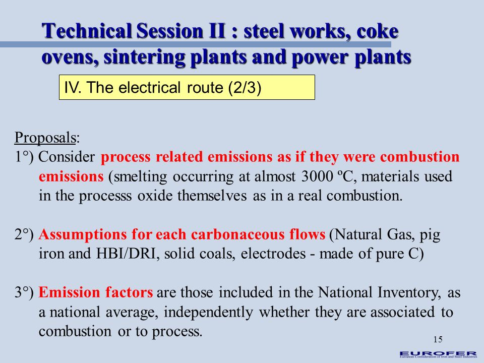 15 Technical Session II : steel works, coke ovens, sintering plants and power plants IV. The electrical route (2/3) Proposals: 1°) Consider process re