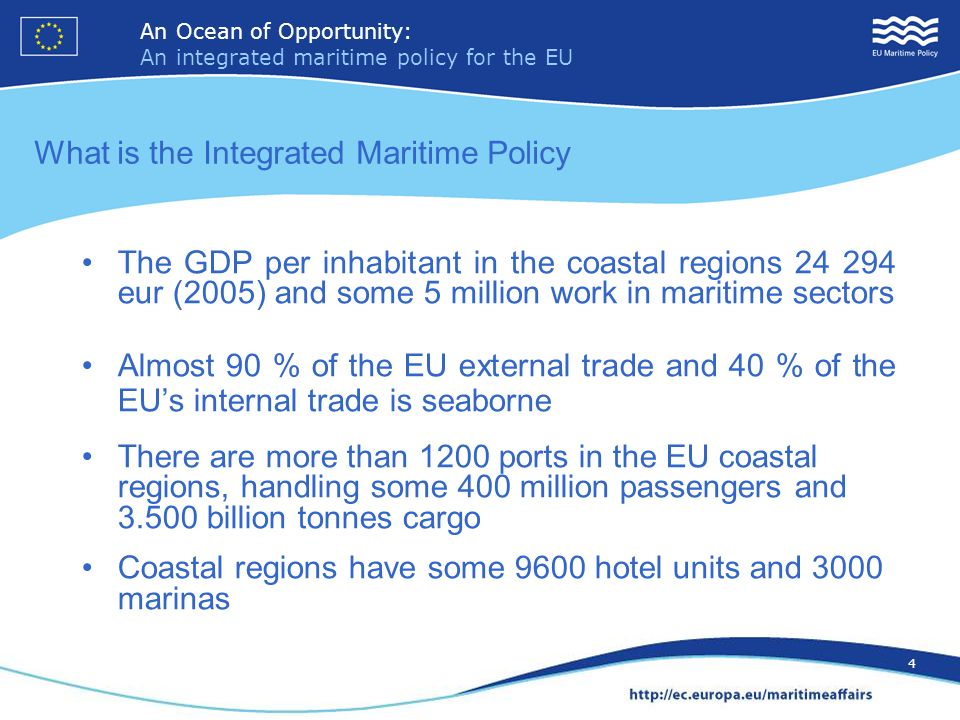 An Ocean of Opportunity: An integrated maritime policy for the EU 15 An Ocean of Opportunity: An integrated maritime policy for the EU 15 EMODNET – European marine and observation data network Building a European marine data infrastructure - consultation all marine data – hydrographic, geological, physical, chemical, biological - as well as human activity that impacts on the marine environment.