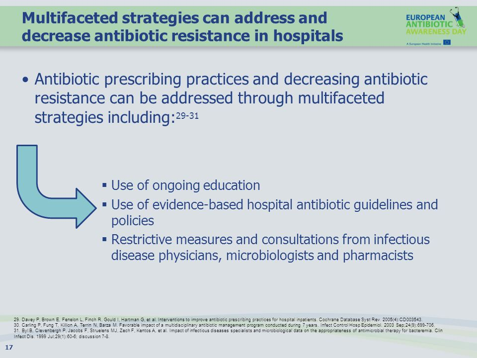 Multifaceted strategies can address and decrease antibiotic resistance in hospitals Antibiotic prescribing practices and decreasing antibiotic resistance can be addressed through multifaceted strategies including: 29-31 Use of ongoing education Use of evidence-based hospital antibiotic guidelines and policies Restrictive measures and consultations from infectious disease physicians, microbiologists and pharmacists 17 29.
