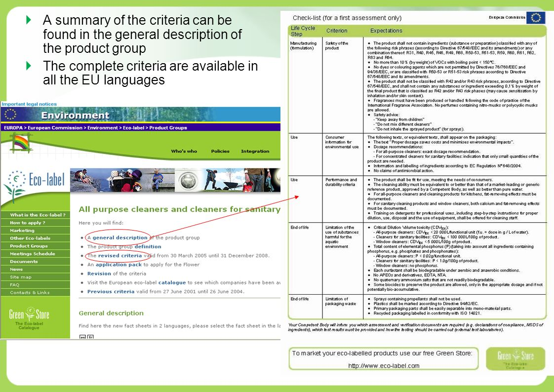 A summary of the criteria can be found in the general description of the product group The complete criteria are available in all the EU languages