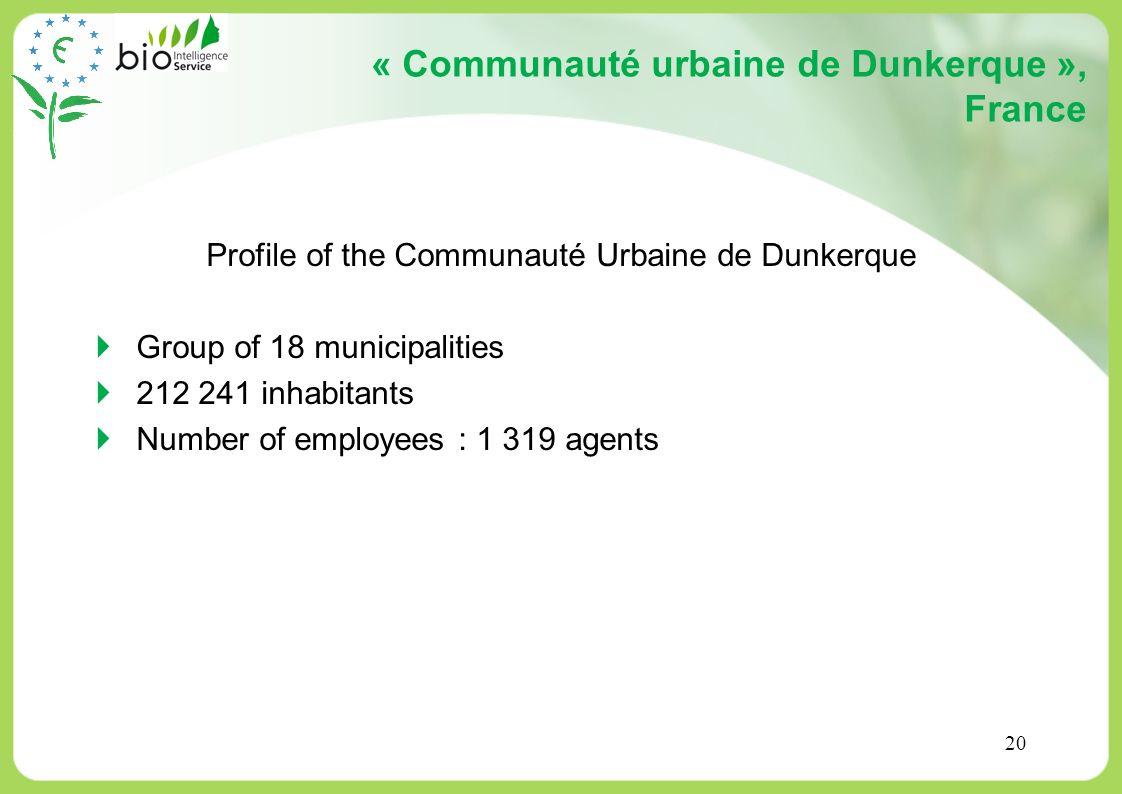 20 « Communauté urbaine de Dunkerque », France Profile of the Communauté Urbaine de Dunkerque Group of 18 municipalities 212 241 inhabitants Number of