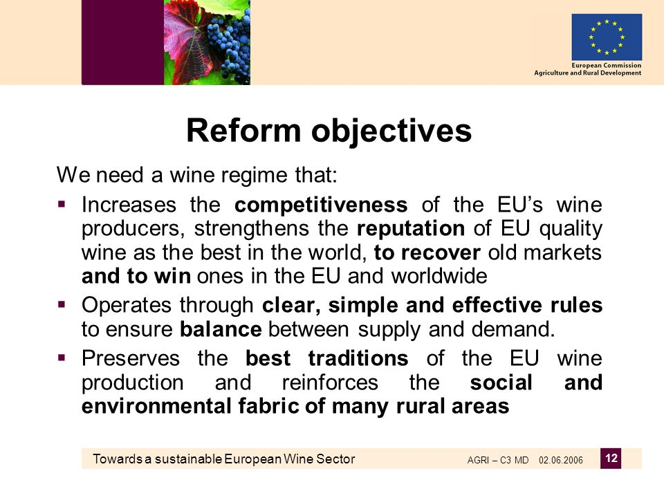 Towards a sustainable European Wine Sector AGRI – C3 MD 02.06.2006 12 Reform objectives We need a wine regime that: Increases the competitiveness of t