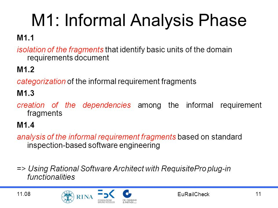11.08 EuRailCheck 11 M1: Informal Analysis Phase M1.1 isolation of the fragments that identify basic units of the domain requirements document M1.2 categorization of the informal requirement fragments M1.3 creation of the dependencies among the informal requirement fragments M1.4 analysis of the informal requirement fragments based on standard inspection-based software engineering => Using Rational Software Architect with RequisitePro plug-in functionalities