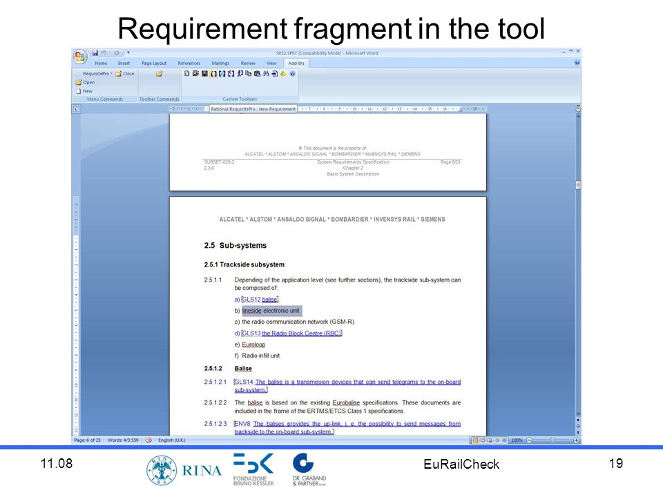 11.08 EuRailCheck 19 Requirement fragment in the tool