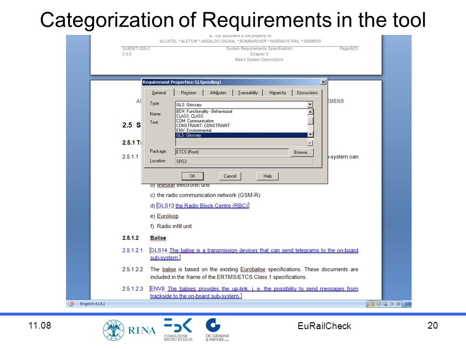 11.08 EuRailCheck 20 Categorization of Requirements in the tool