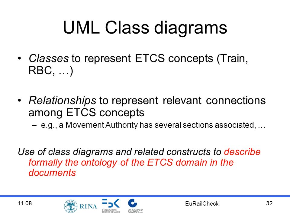 11.08 EuRailCheck 32 UML Class diagrams Classes to represent ETCS concepts (Train, RBC, …) Relationships to represent relevant connections among ETCS concepts –e.g., a Movement Authority has several sections associated, … Use of class diagrams and related constructs to describe formally the ontology of the ETCS domain in the documents