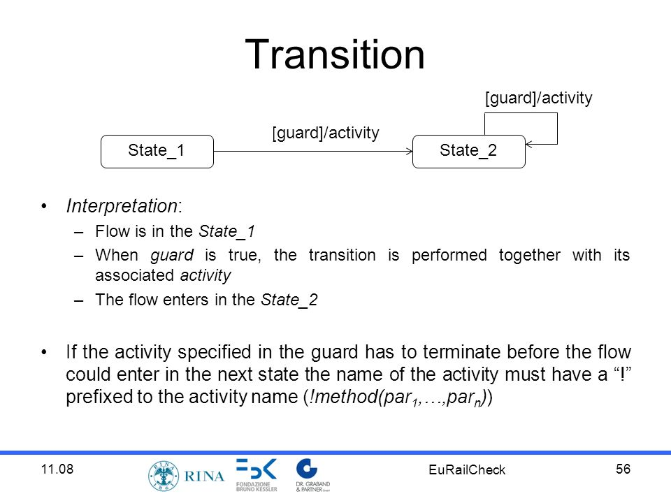 11.08 EuRailCheck 56 Transition Interpretation: –Flow is in the State_1 –When guard is true, the transition is performed together with its associated activity –The flow enters in the State_2 If the activity specified in the guard has to terminate before the flow could enter in the next state the name of the activity must have a .