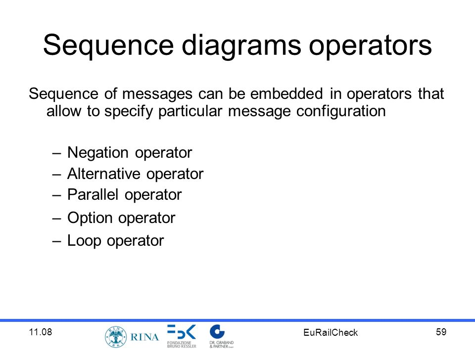 11.08 EuRailCheck 59 Sequence diagrams operators Sequence of messages can be embedded in operators that allow to specify particular message configuration –Negation operator –Alternative operator –Parallel operator –Option operator –Loop operator