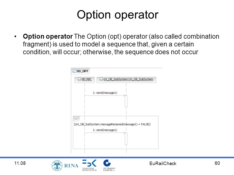 11.08 EuRailCheck 60 Option operator Option operator The Option (opt) operator (also called combination fragment) is used to model a sequence that, given a certain condition, will occur; otherwise, the sequence does not occur
