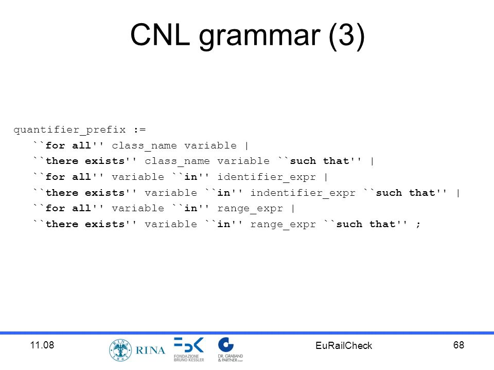 11.08 EuRailCheck 68 CNL grammar (3) quantifier_prefix := ``for all class_name variable | ``there exists class_name variable ``such that | ``for all variable ``in identifier_expr | ``there exists variable ``in indentifier_expr ``such that | ``for all variable ``in range_expr | ``there exists variable ``in range_expr ``such that ;