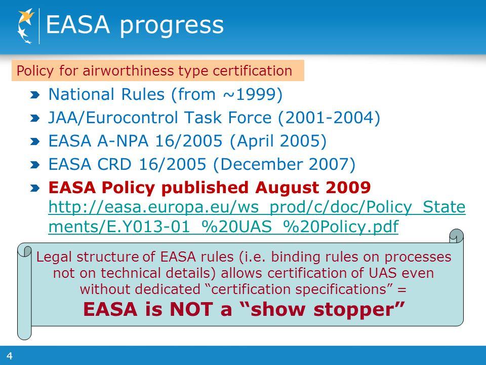 4 EASA progress National Rules (from ~1999) JAA/Eurocontrol Task Force (2001-2004) EASA A-NPA 16/2005 (April 2005) EASA CRD 16/2005 (December 2007) EA