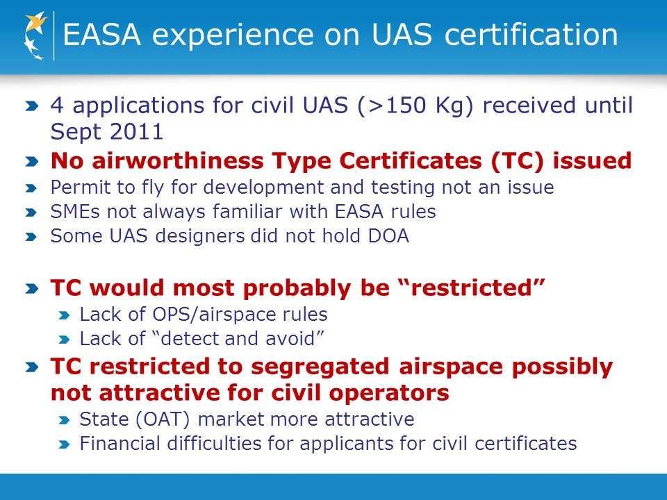 EASA experience on UAS certification 4 applications for civil UAS (>150 Kg) received until Sept 2011 No airworthiness Type Certificates (TC) issued Permit to fly for development and testing not an issue SMEs not always familiar with EASA rules Some UAS designers did not hold DOA TC would most probably be restricted Lack of OPS/airspace rules Lack of detect and avoid TC restricted to segregated airspace possibly not attractive for civil operators State (OAT) market more attractive Financial difficulties for applicants for civil certificates