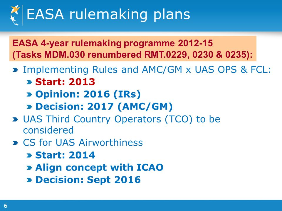6 EASA rulemaking plans Implementing Rules and AMC/GM x UAS OPS & FCL: Start: 2013 Opinion: 2016 (IRs) Decision: 2017 (AMC/GM) UAS Third Country Operators (TCO) to be considered CS for UAS Airworthiness Start: 2014 Align concept with ICAO Decision: Sept 2016 EASA 4-year rulemaking programme (Tasks MDM.030 renumbered RMT.0229, 0230 & 0235):