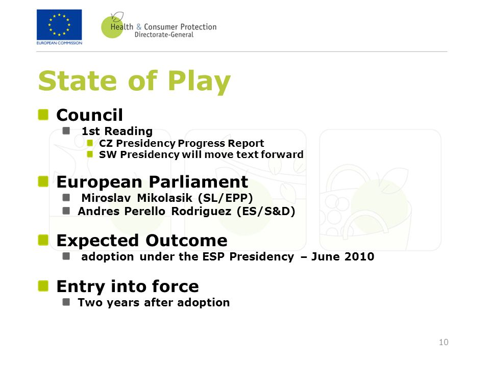 10 State of Play Council 1st Reading CZ Presidency Progress Report SW Presidency will move text forward European Parliament Miroslav Mikolasik (SL/EPP) Andres Perello Rodriguez (ES/S&D) Expected Outcome adoption under the ESP Presidency – June 2010 Entry into force Two years after adoption