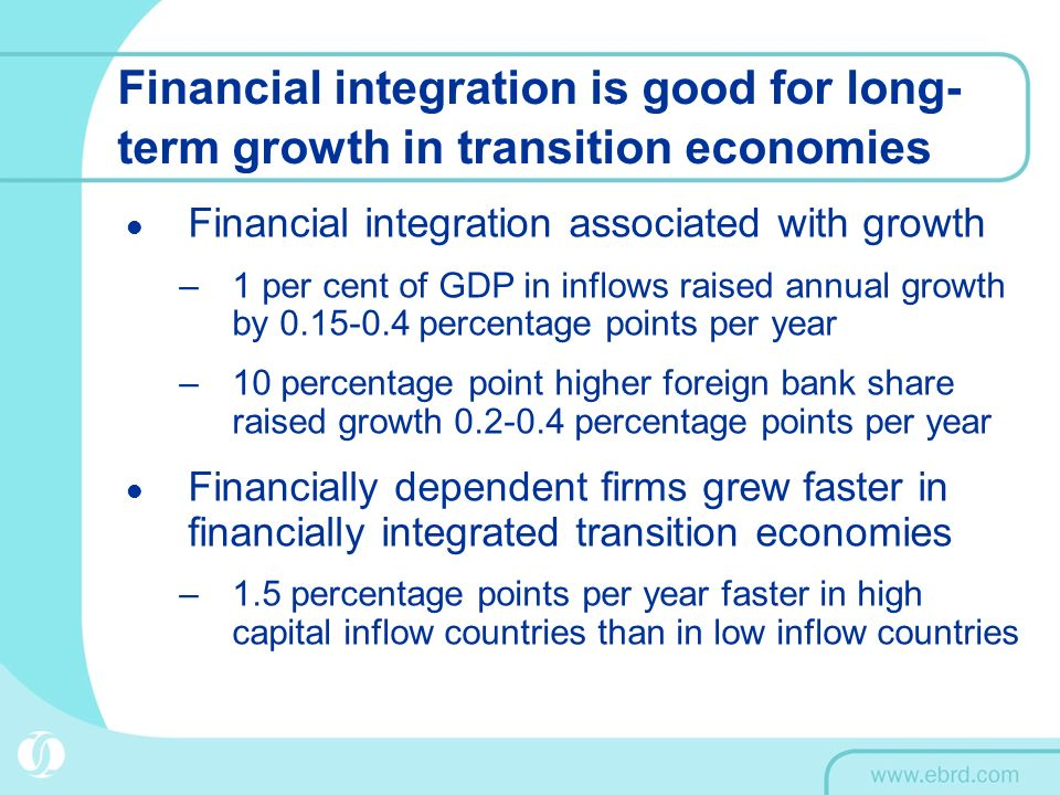 Financial integration is good for long- term growth in transition economies Financial integration associated with growth –1 per cent of GDP in inflows raised annual growth by 0.15-0.4 percentage points per year –10 percentage point higher foreign bank share raised growth 0.2-0.4 percentage points per year Financially dependent firms grew faster in financially integrated transition economies –1.5 percentage points per year faster in high capital inflow countries than in low inflow countries