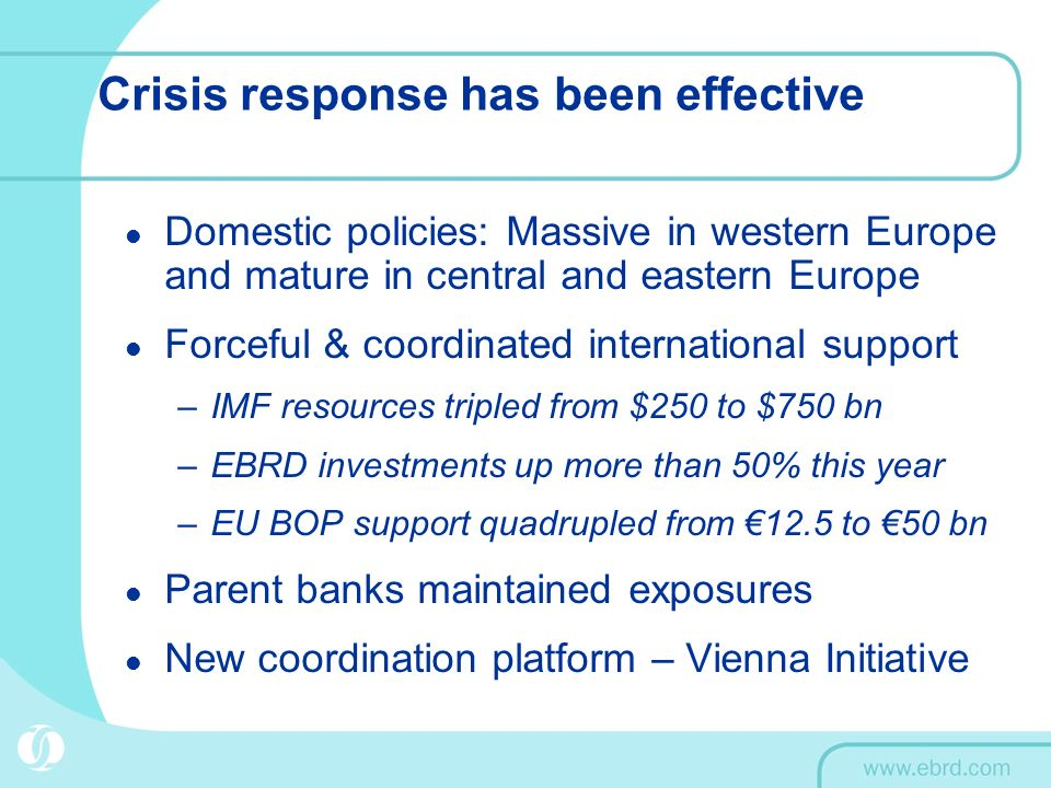 Crisis response has been effective Domestic policies: Massive in western Europe and mature in central and eastern Europe Forceful & coordinated international support –IMF resources tripled from $250 to $750 bn –EBRD investments up more than 50% this year –EU BOP support quadrupled from 12.5 to 50 bn Parent banks maintained exposures New coordination platform – Vienna Initiative