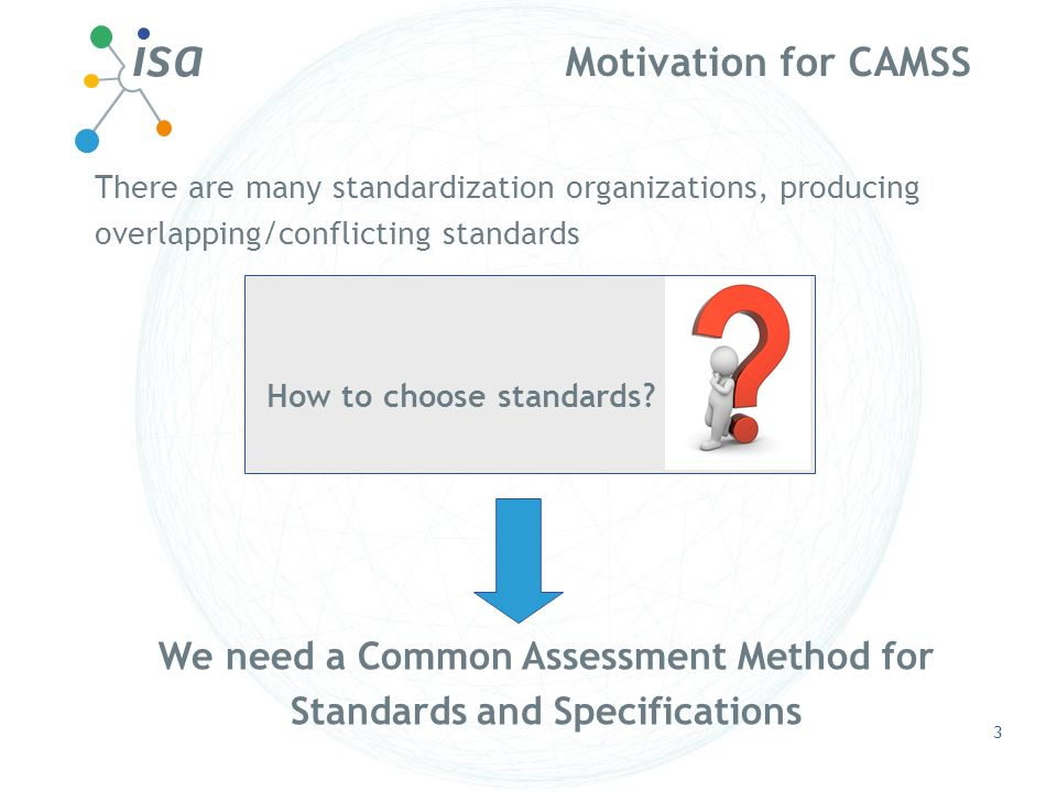 Motivation for CAMSS 3 There are many standardization organizations, producing overlapping/conflicting standards How to choose standards? We need a Co