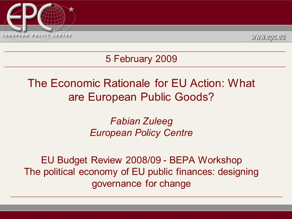 5 February 2009 The Economic Rationale for EU Action: What are European Public Goods.