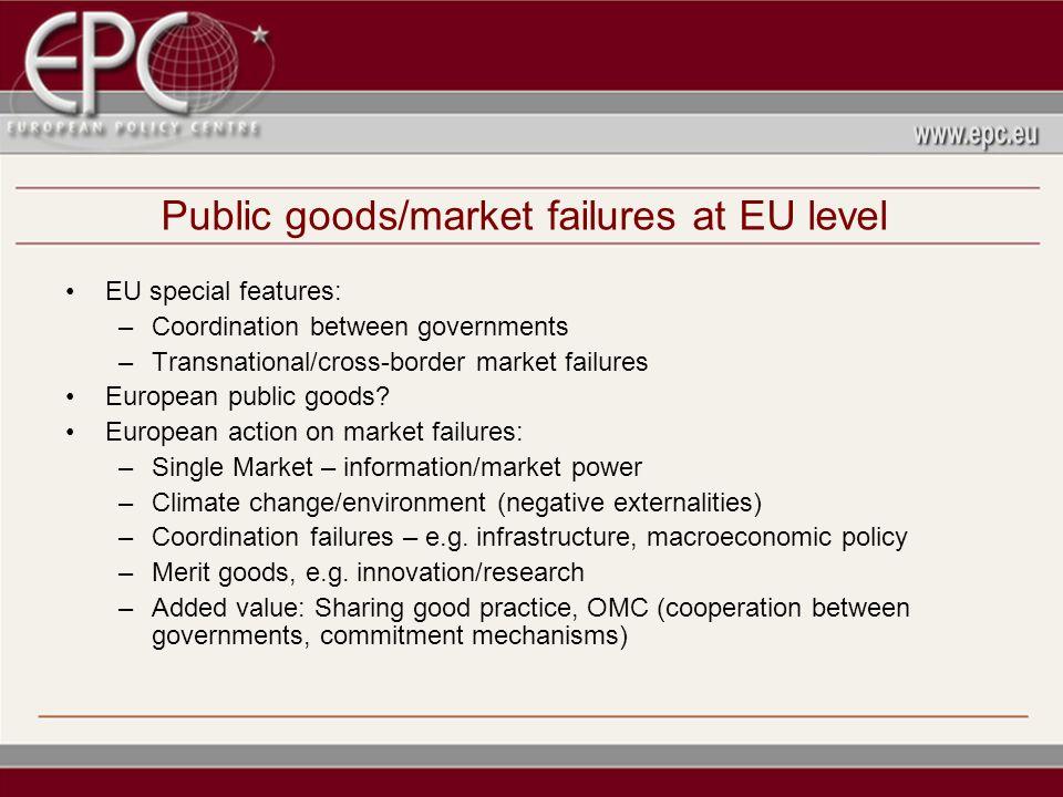 Public goods/market failures at EU level EU special features: –Coordination between governments –Transnational/cross-border market failures European public goods.