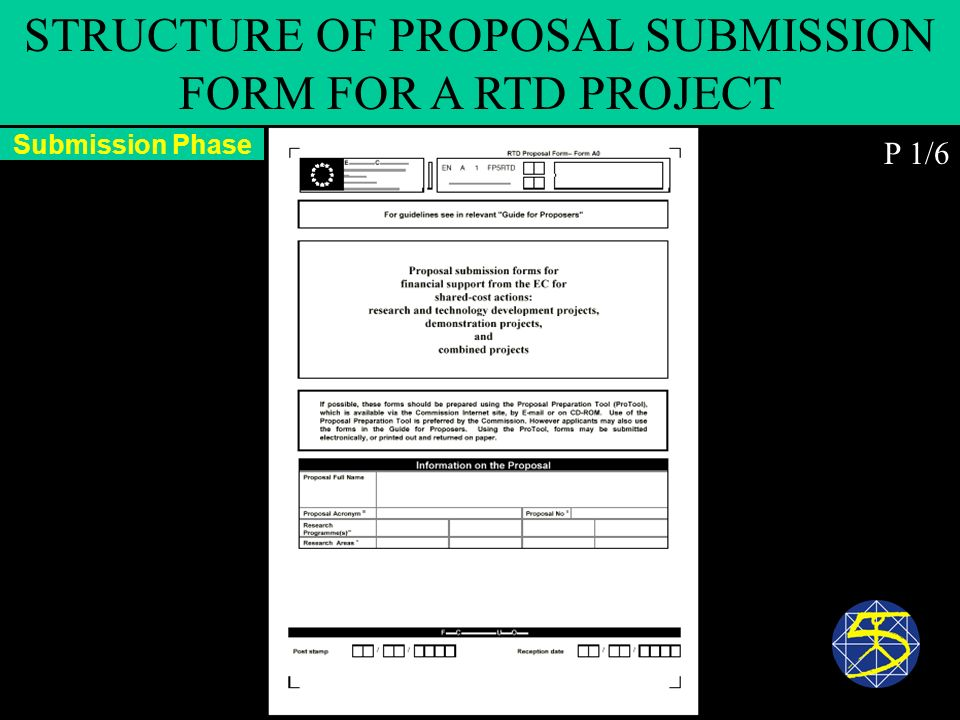 Submission Phase STRUCTURE OF PROPOSAL SUBMISSION FORM FOR A RTD PROJECT P 1/6