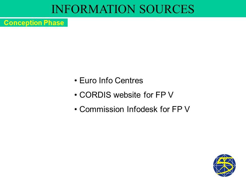 Euro Info Centres CORDIS website for FP V Commission Infodesk for FP V Conception Phase INFORMATION SOURCES