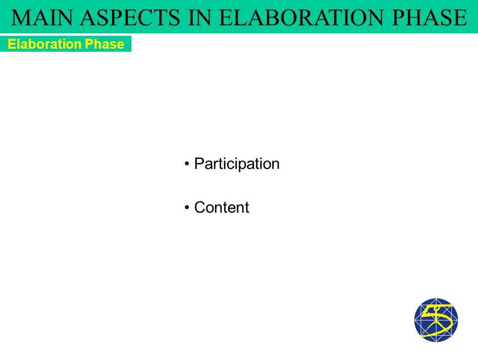 Participation Content Elaboration Phase MAIN ASPECTS IN ELABORATION PHASE