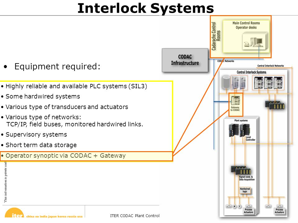 This information is private and confidential. © February 13, 2008 ITER CODAC Plant Control Design Handbook – Barcelona - 27 Oct 2008 Page 40 Highly re
