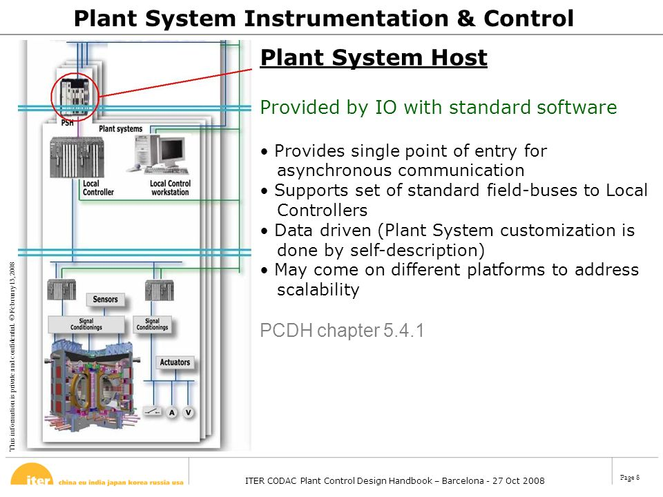 This information is private and confidential. © February 13, 2008 ITER CODAC Plant Control Design Handbook – Barcelona - 27 Oct 2008 Page 8 Plant Syst