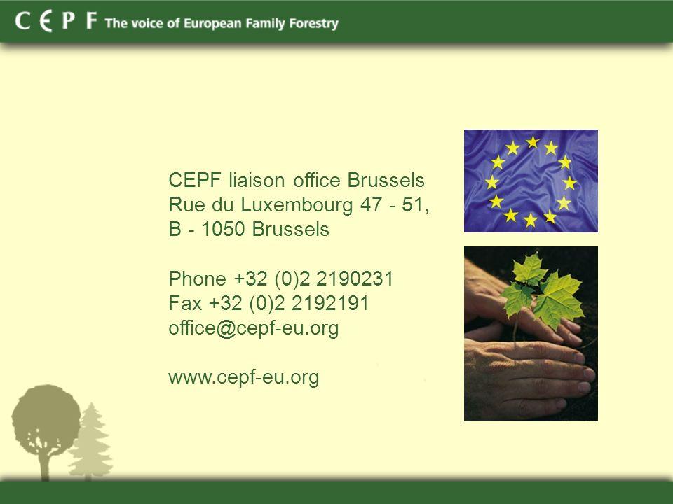 CEPF liaison office Brussels Rue du Luxembourg 47 - 51, B - 1050 Brussels Phone +32 (0)2 2190231 Fax +32 (0)2 2192191 office@cepf-eu.org www.cepf-eu.org