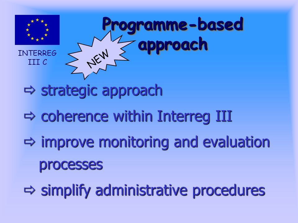INTERREG III C Programme-based approach strategic approach strategic approach coherence within Interreg III coherence within Interreg III improve monitoring and evaluation processes improve monitoring and evaluation processes simplify administrative procedures simplify administrative procedures NEW