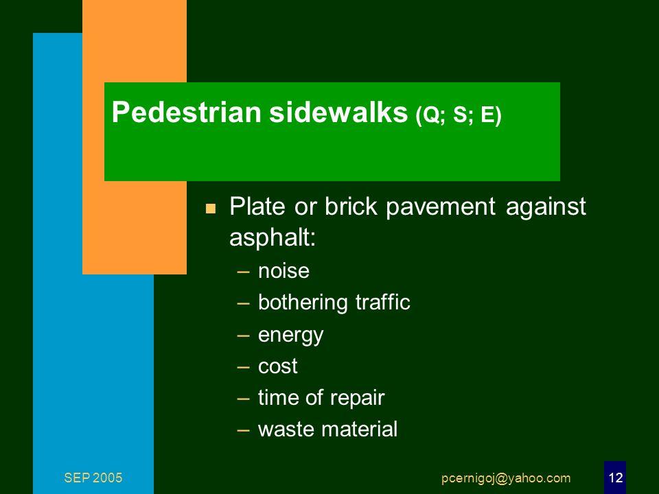 SEP 2005 pcernigoj@yahoo.com 12 Pedestrian sidewalks (Q; S; E) n Plate or brick pavement against asphalt: –noise –bothering traffic –energy –cost –tim