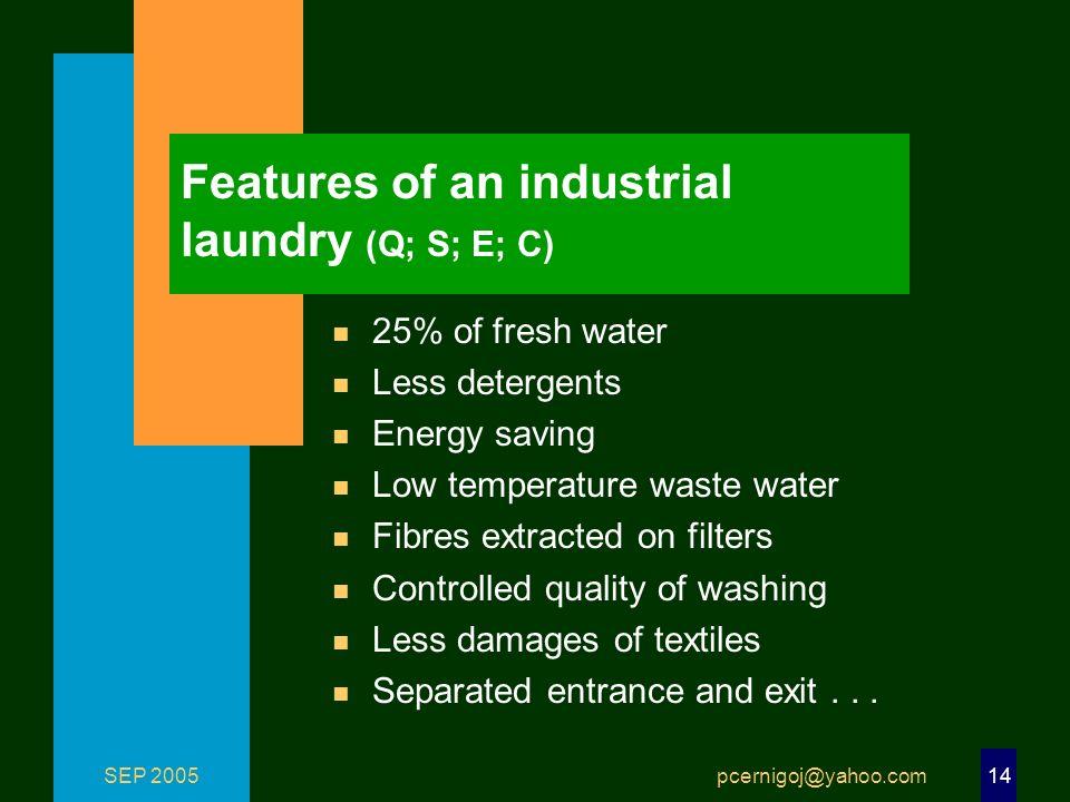 SEP 2005 pcernigoj@yahoo.com 14 Features of an industrial laundry (Q; S; E; C) n 25% of fresh water n Less detergents n Energy saving n Low temperatur