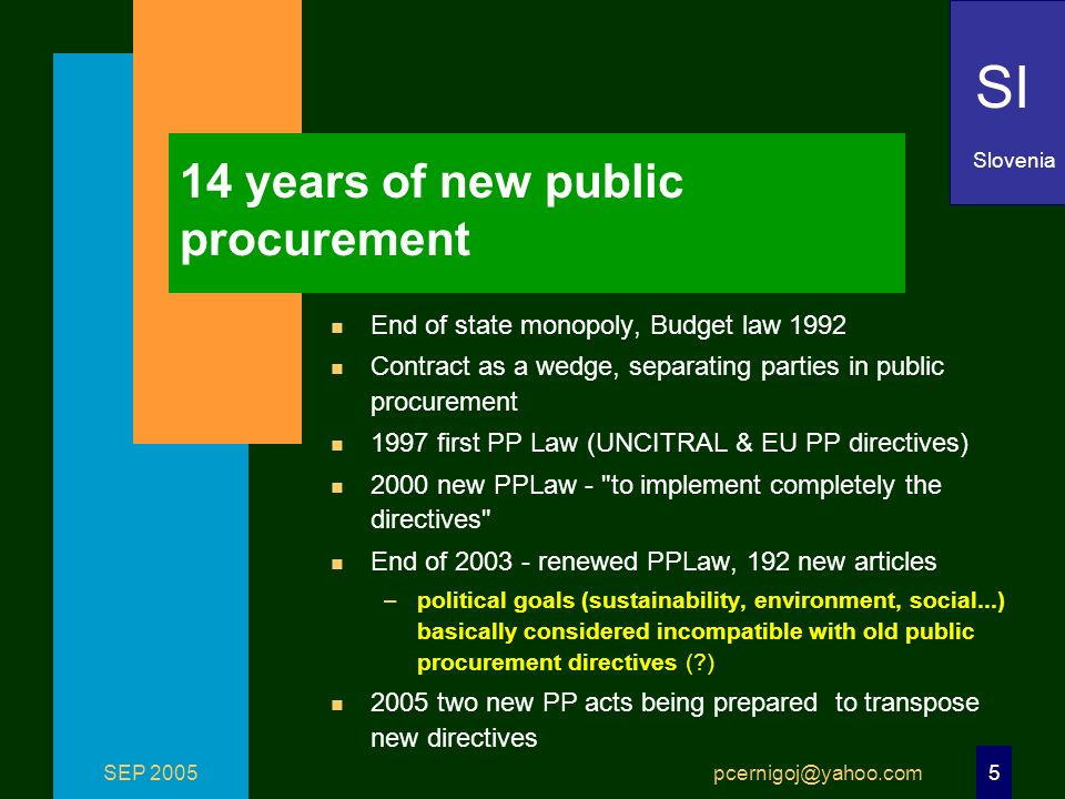 SEP 2005 pcernigoj@yahoo.com 5 14 years of new public procurement n End of state monopoly, Budget law 1992 n Contract as a wedge, separating parties in public procurement n 1997 first PP Law (UNCITRAL & EU PP directives) n 2000 new PPLaw - to implement completely the directives n End of 2003 - renewed PPLaw, 192 new articles –political goals (sustainability, environment, social...) basically considered incompatible with old public procurement directives ( ) n 2005 two new PP acts being prepared to transpose new directives SI Slovenia