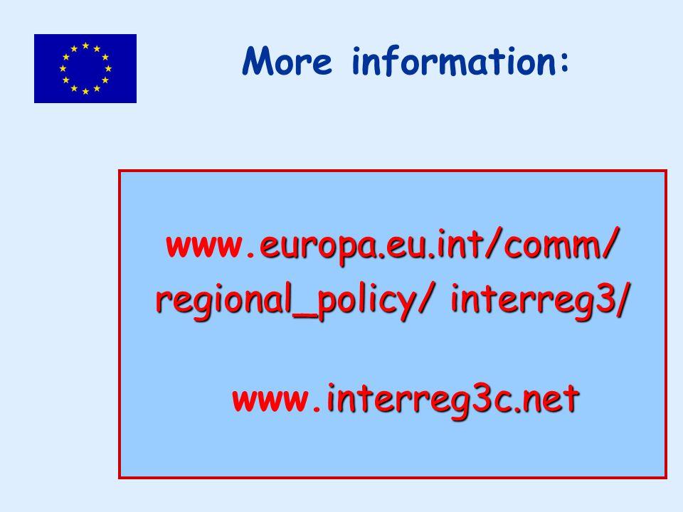 europa.eu.int/comm/ www.europa.eu.int/comm/ regional_policy/ interreg3 / interreg3c.net www.interreg3c.net More information: