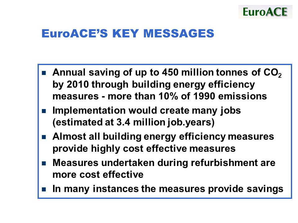 EuroACES KEY MESSAGES n Annual saving of up to 450 million tonnes of CO 2 by 2010 through building energy efficiency measures - more than 10% of 1990 emissions n Implementation would create many jobs (estimated at 3.4 million job.years) n Almost all building energy efficiency measures provide highly cost effective measures n Measures undertaken during refurbishment are more cost effective n In many instances the measures provide savings