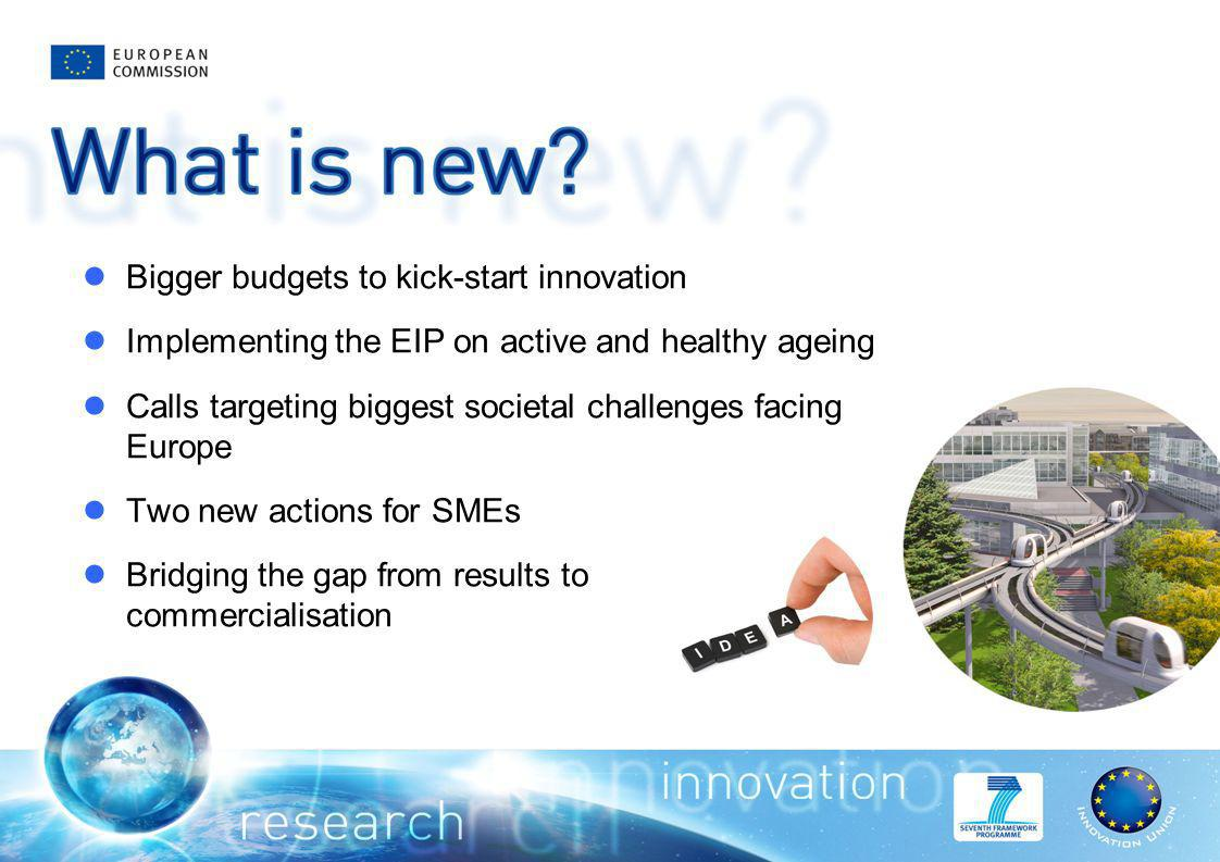 Bigger budgets to kick-start innovation Implementing the EIP on active and healthy ageing Calls targeting biggest societal challenges facing Europe Two new actions for SMEs Bridging the gap from results to commercialisation