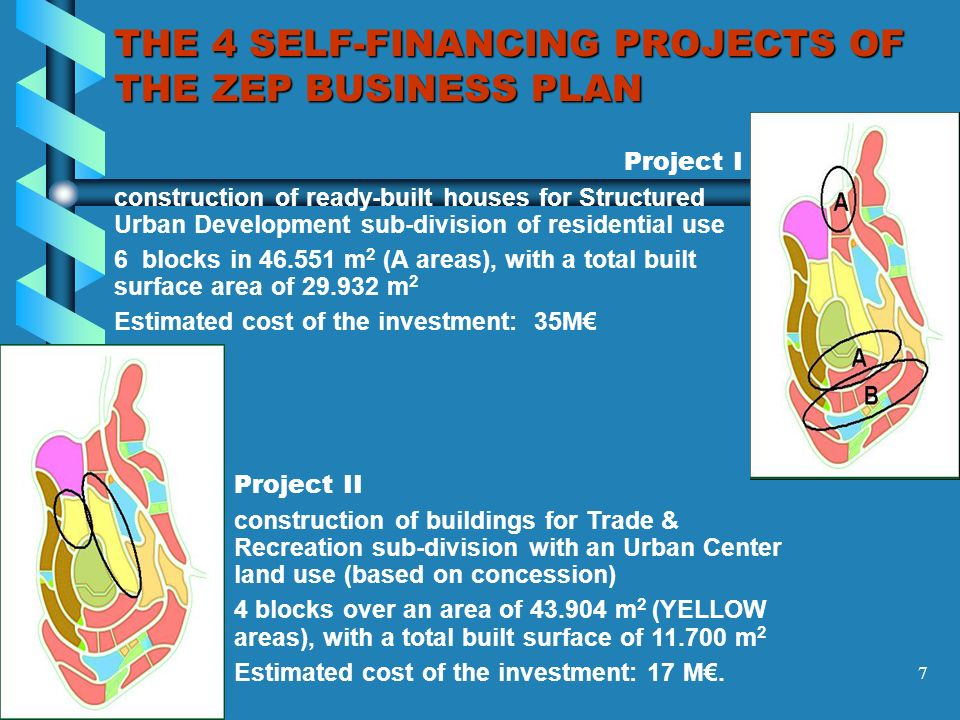 7 THE 4 SELF-FINANCING PROJECTS OF THE ZEP BUSINESS PLAN Project I construction of ready-built houses for Structured Urban Development sub-division of residential use 6 blocks in 46.551 m 2 (A areas), with a total built surface area of 29.932 m 2 Estimated cost of the investment: 35M Project II construction of buildings for Trade & Recreation sub-division with an Urban Center land use (based on concession) 4 blocks over an area of 43.904 m 2 (YELLOW areas), with a total built surface of 11.700 m 2 Estimated cost of the investment: 17 M.