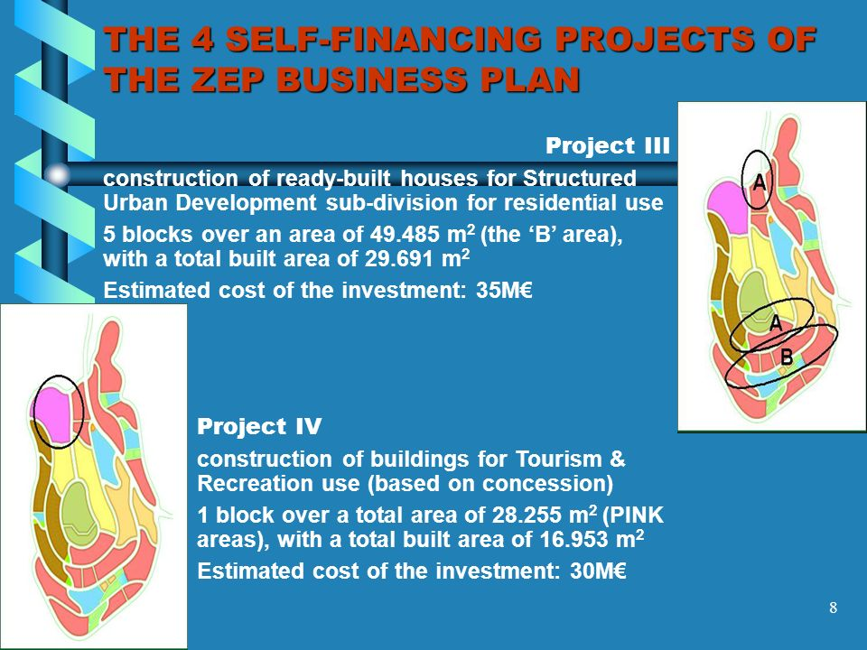 8 THE 4 SELF-FINANCING PROJECTS OF THE ZEP BUSINESS PLAN Project III construction of ready-built houses for Structured Urban Development sub-division for residential use 5 blocks over an area of 49.485 m 2 (the B area), with a total built area of 29.691 m 2 Estimated cost of the investment: 35M Project IV construction of buildings for Tourism & Recreation use (based on concession) 1 block over a total area of 28.255 m 2 (PINK areas), with a total built area of 16.953 m 2 Estimated cost of the investment: 30M