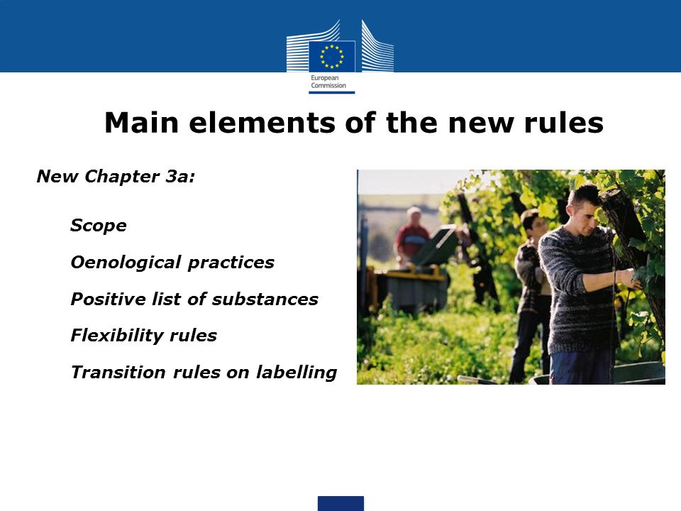 Main elements of the new rules New Chapter 3a: 1.Scope 2.Oenological practices 3.Positive list of substances 4.Flexibility rules 5.Transition rules on labelling