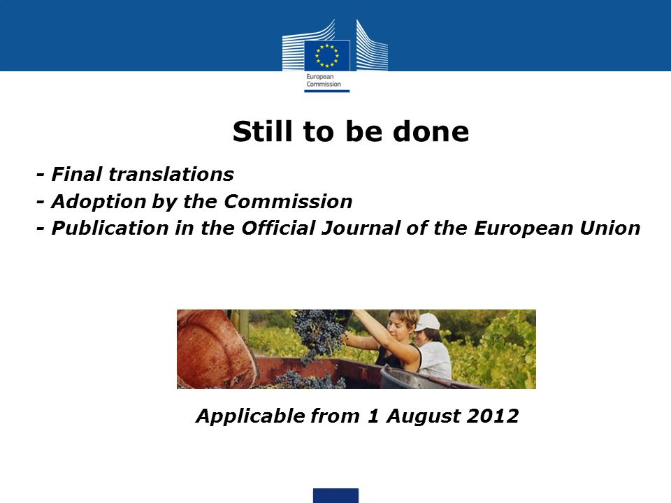 Still to be done - Final translations - Adoption by the Commission - Publication in the Official Journal of the European Union Applicable from 1 August 2012