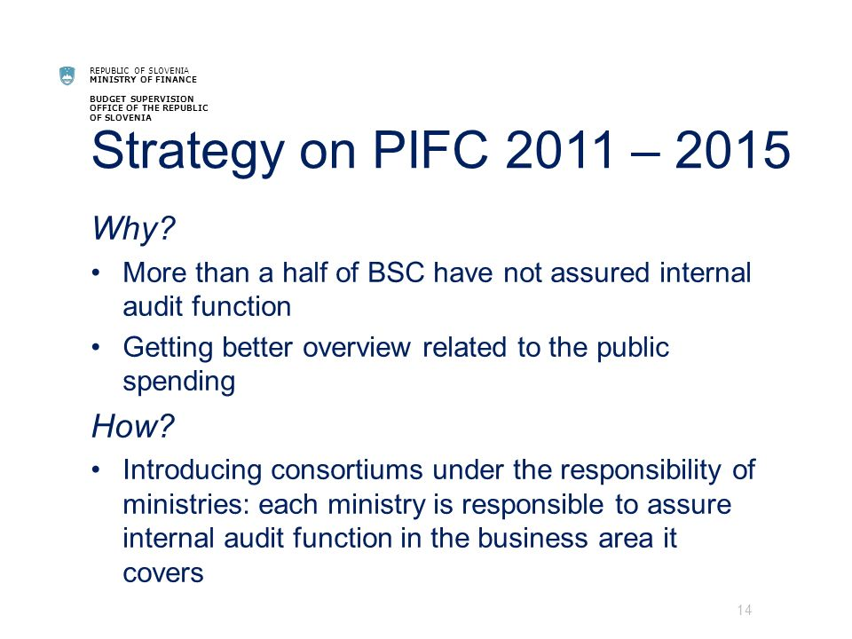 REPUBLIC OF SLOVENIA MINISTRY OF FINANCE BUDGET SUPERVISION OFFICE OF THE REPUBLIC OF SLOVENIA Strategy on PIFC 2011 – 2015 Why.