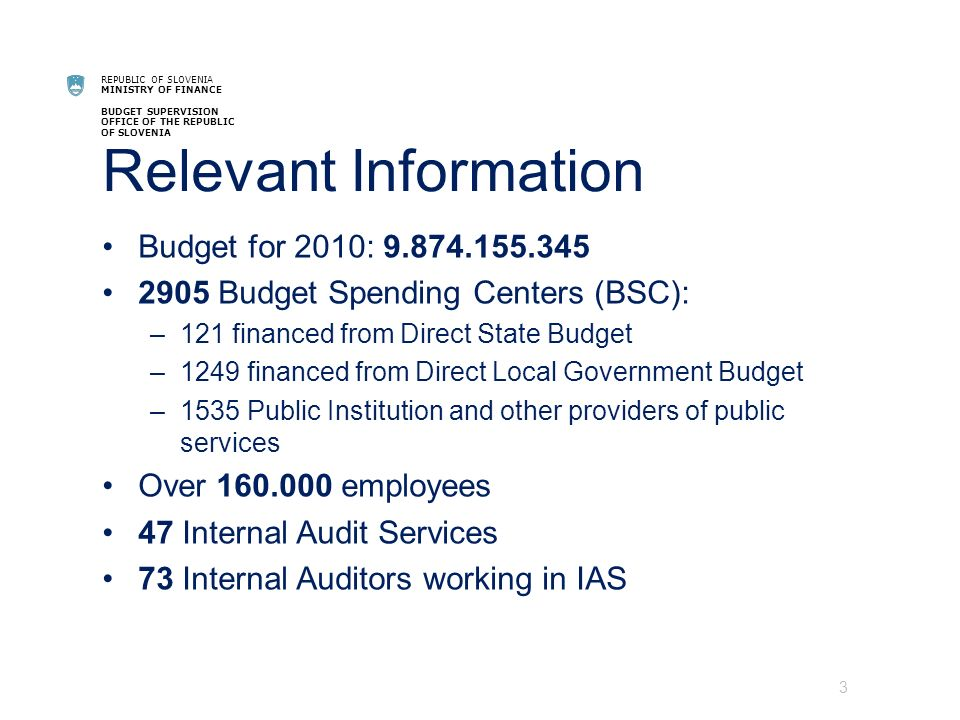REPUBLIC OF SLOVENIA MINISTRY OF FINANCE BUDGET SUPERVISION OFFICE OF THE REPUBLIC OF SLOVENIA Relevant Information Budget for 2010: 9.874.155.345 2905 Budget Spending Centers (BSC): –121 financed from Direct State Budget –1249 financed from Direct Local Government Budget –1535 Public Institution and other providers of public services Over 160.000 employees 47 Internal Audit Services 73 Internal Auditors working in IAS 3