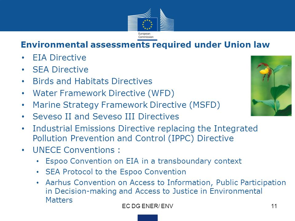 EC DG ENER/ ENV11 Environmental assessments required under Union law EIA Directive SEA Directive Birds and Habitats Directives Water Framework Directive (WFD) Marine Strategy Framework Directive (MSFD) Seveso II and Seveso III Directives Industrial Emissions Directive replacing the Integrated Pollution Prevention and Control (IPPC) Directive UNECE Conventions : Espoo Convention on EIA in a transboundary context SEA Protocol to the Espoo Convention Aarhus Convention on Access to Information, Public Participation in Decision-making and Access to Justice in Environmental Matters